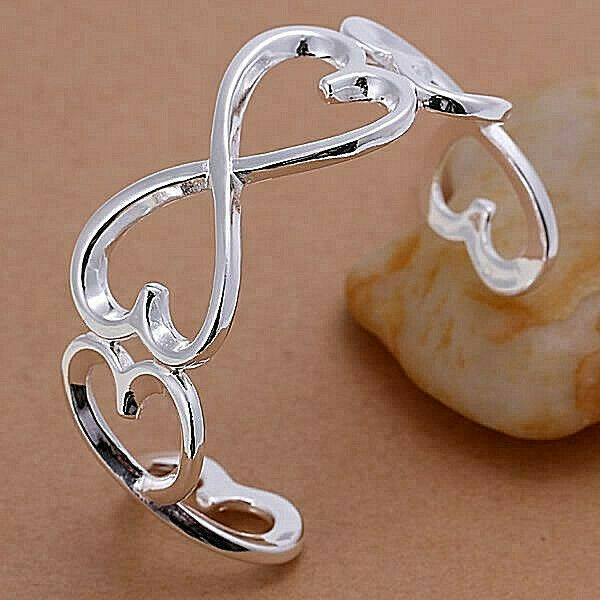 Primary image for Infinity Heart Bangle Bracelet 925 Sterling Silver NEW