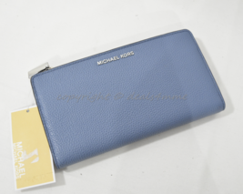 NWT Michael Kors Studio Mercer Leather Large Double Snap Wallet in Denim... - £89.98 GBP