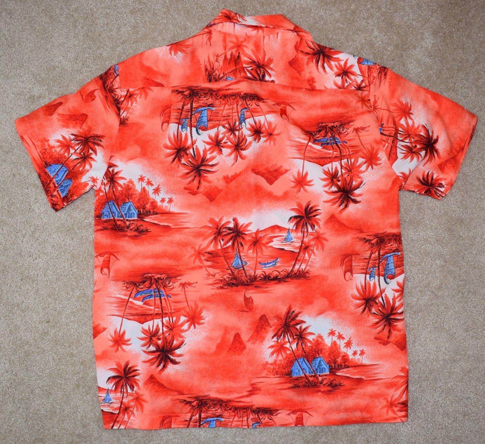 ca3aca07 Vintage Made In Hawaii Large Hawaiian Shirt Orange Palm Tree Boat Short  Sleeve