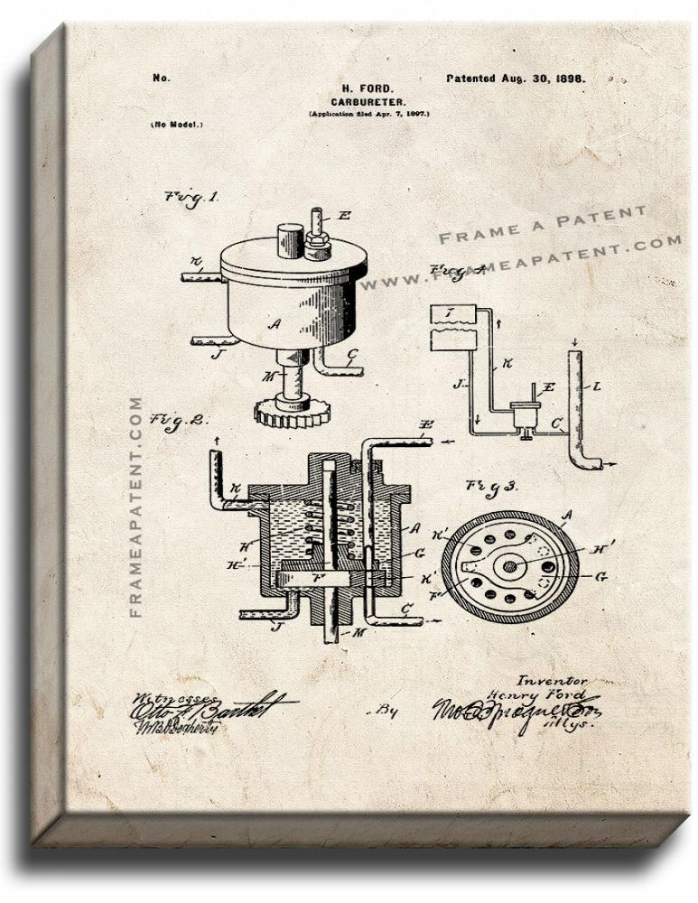 Primary image for Henry Ford Carbureter Patent Print Old Look on Canvas