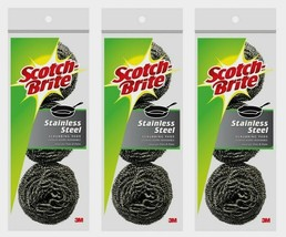 3~ Scotch-Brite Stainless Steel SCRUBBING PADS 3ea Pots Pans Grill Cookw... - $15.89