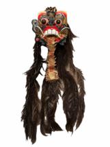 "Vintage Asian Tribal Mask Hand Carved Wood Wall Art East Java Indonesia 41x11"" image 1"