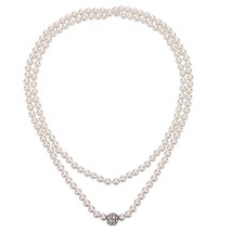 D EXCEED Women's Long Knotted Pearl Necklace Long Cream Imitation Pearl ... - $25.41