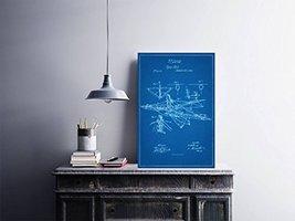 "Flying Machine Vertical Format - Blueprint Style - Art Print - 18"" tall x 12"" wi - $16.00"