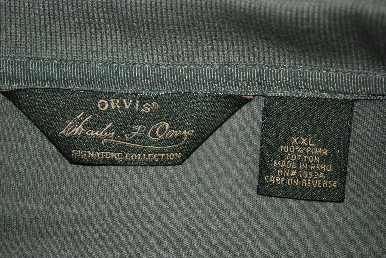 6b6a86c6f27 ORVIS SIGNATURE Men's Long Sleeve Polo Shirt Size XXL 100% Pima Cotton Green
