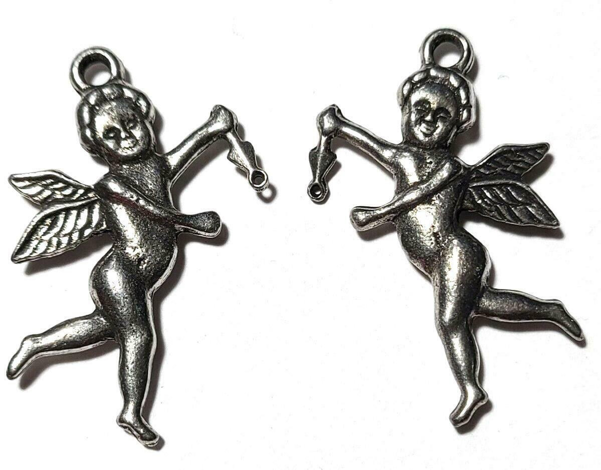 "Cupid Cherub Fine Pewter Cast Charm Epoxy Color - ~1 1/2"" Tall"