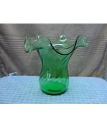 Green glass ruffled rim Vase in the swirl pattern. - $15.00