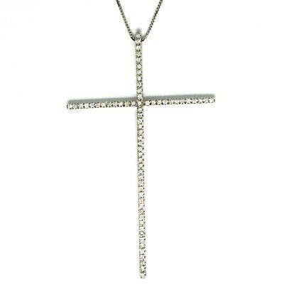 Necklace White Gold 750 18k, cross Big 6.3 cm, Diamonds 0.65, Chain Venetian