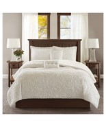 Embroidered Long Faux Fur Coverlet Set 5-Piece - KING SIZE - $79.99