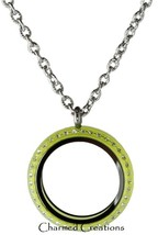30mm Lime Green Acrylic Floating Charm Memory Locket Stainless Steel Nec... - $16.82