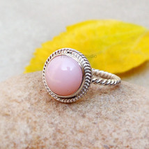 Pink Opal Twisted Band Natural Pink Opal Ring Opal Sterling Silver Ring Pink Opa - $42.25