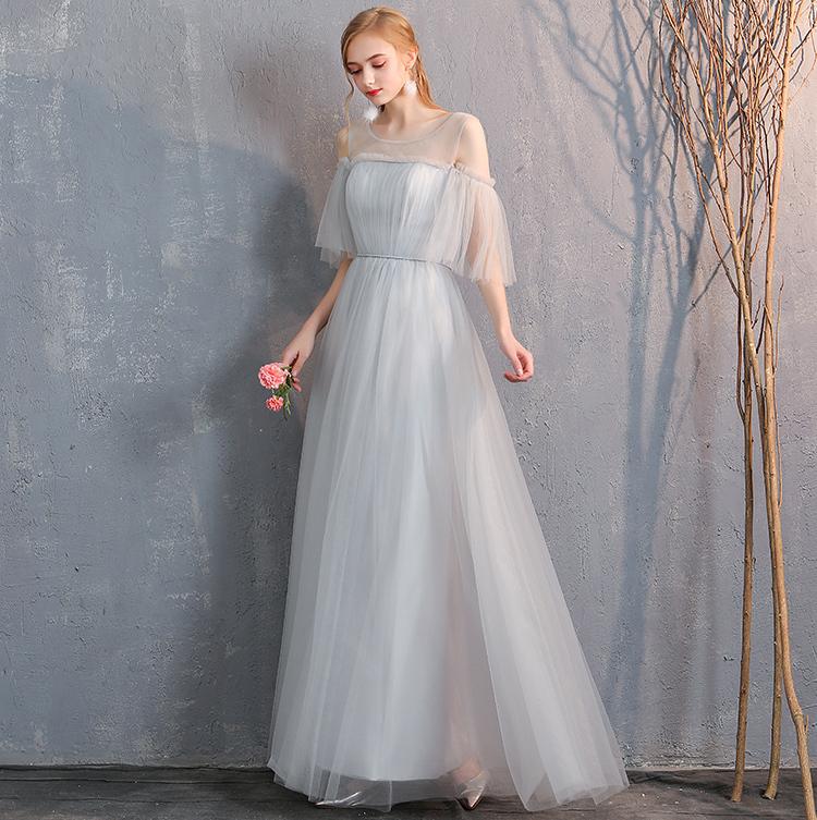 Bridesmaid tulle dress light gray 4