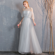 Floor Length Maxi Bridesmaid Dresses Tulle Wedding Dress Light Gray Off Shoulder image 6