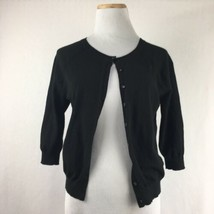 Ann Taylor Women's Classic Cropped Black Scoopneck Cardigan Sweater Size... - $23.31