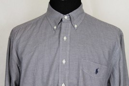 RALPH LAUREN Yarmouth Mens LS Blue Micro-Check Button Front Shirt sz 17-35 - $24.74