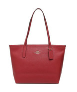 NWT COACH Zip Top Tote Shoulder Bag Classic Logo Leather True Red Gold F... - $134.64