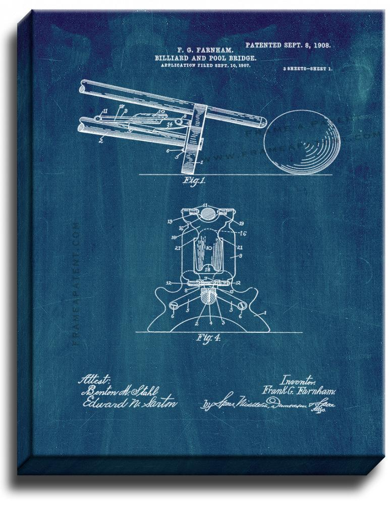 Primary image for Billiard And Pool Bridge Patent Print Midnight Blue on Canvas