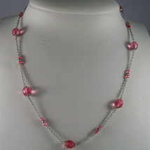 .925 SILVER RHODIUM NECKLACE WITH FACETED PINK CRYSTALS image 1