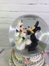 Disney Mickey Minnie Mouse Wedding Snow Water Globe Musical A Dream Is A Wish - $63.10
