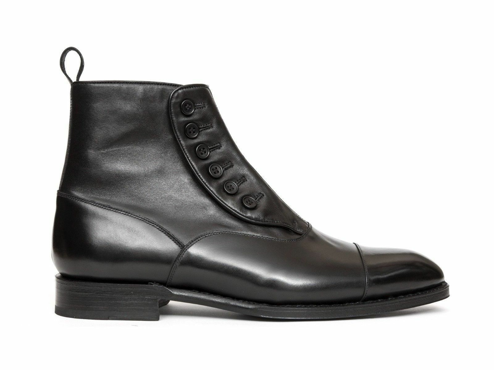 Handmade Men's Black Leather Two Tone High Ankle Leather Buttons Boots