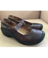 KEEN DARK BROWN LEATHER MARY JANE ELASTIC STRAP WOMEN SIZE 9 - $32.42