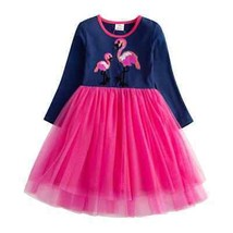 NEW Girls Sequin Flamingo Long Sleeve Ruffle Tutu Dress 2-3 3-4 5-6 - $16.99