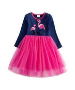 NEW Girls Sequin Flamingo Long Sleeve Ruffle Tutu Dress 2-3 3-4 5-6 - $16.99