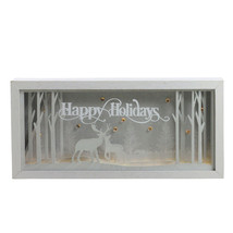"Diva At Home 12"" Lighted Happy Holidays Reindeer Christmas Shadow Box De... - $22.86"