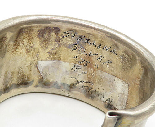 LILLIAN VERNON 925 Silver - Vintage Rustic Curved Edge Wide Cuff Bracelet- B4681