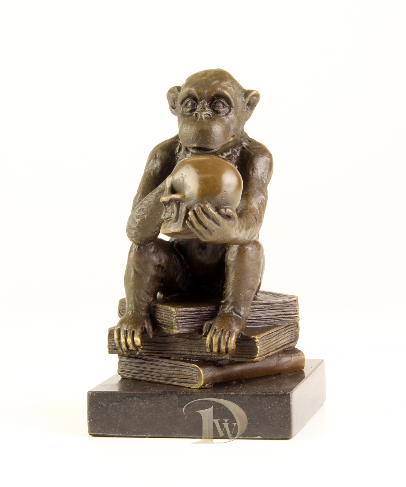 Antique Home Decor Bronze Sculpture shows Ape with Skull signed * Free Shipping