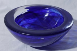 Kosta Boda Sweden MCM Heavy Cobalt Blue Cloud Swirl Art Glass Atoll Bowl... - $158.35