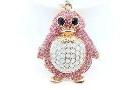 Pink Penguin Keychain Rhinestone Crystal Charm Cute Bird Animal Gift  #M... - $18.17