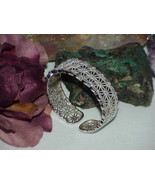 QVC 925 Sterling Silver CZ Floral Geometric Hinged Cuff Bracelet Bangle ... - $178.19