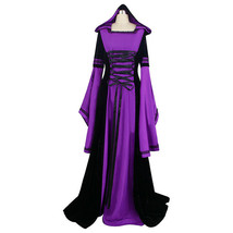 Womens Renaissance Gown Costume Medieval Standard Dress Black Purple Hoo... - $75.00