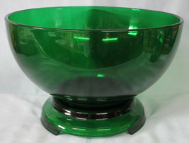 Anchor Hocking Forest Green Punch Bowl and Stand - $60.28