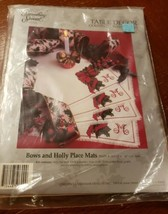 Something Special Counted Cross Stitch Christmas Bows & Holly Placemats Kit New - $49.40
