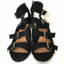 DV by Dolce Vita Strappy Sandal Wedges Buckles Side Zippers 9 Vegan Faux Suede - £30.15 GBP