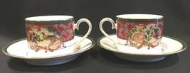 Noritake Royal Hunt Flat Coffee Tea Cups & Saucers #3930 Set of 2 - $21.99