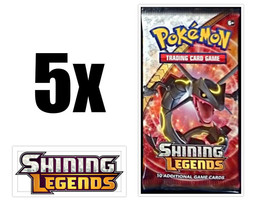 Shining Legends 5 Booster Pack Lot Pokemon TCG Trading Card Game - $27.95