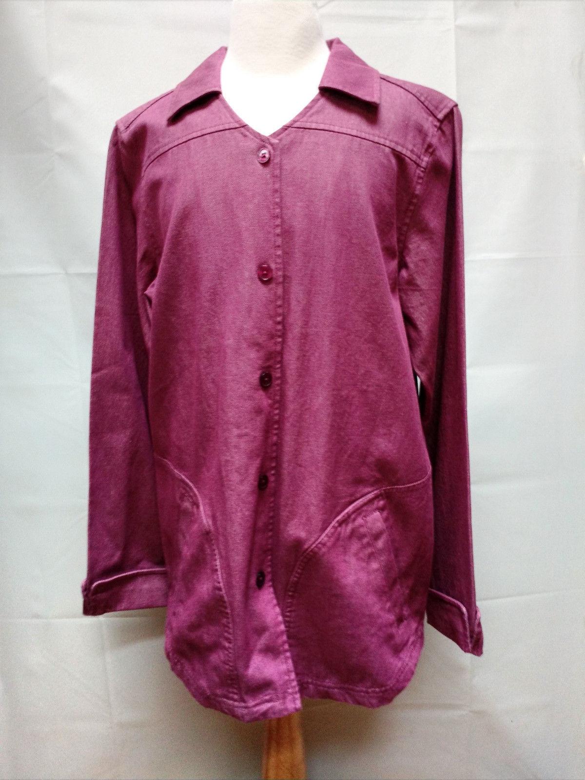 Denim & Co X-small Small Denim Violet Purple Long Jacket Blazer Coat Wide A Line