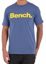 Bench Corporation Urban Abbigliamento Street Uomo Blu T-Shirt Logo Giallo Nwt