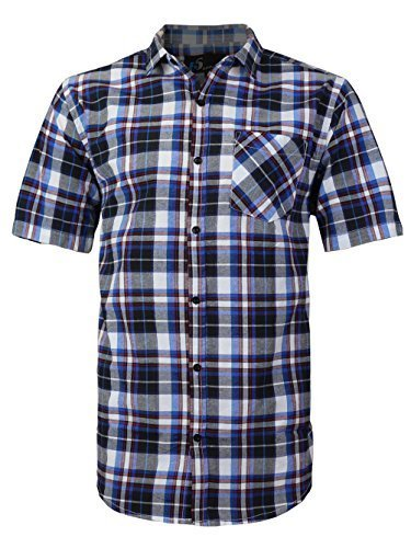 vkwear Men's Plaid Checkered Button Down Casual Short Sleeve Dress Shirt (XL, Na
