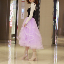 Layered Tulle Skirt Princess Outfit Plus Size Wedding Outfit Purple Tiered Skirt image 5