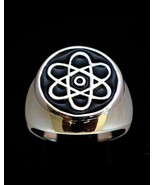 Sterling silver Symbol ring Atomic Nuclear Cloud with Black enamel high ... - $110.00