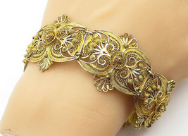 925 Sterling Silver - Vintage Gold Plated Floral Filigree Chain Bracelet... - $72.06