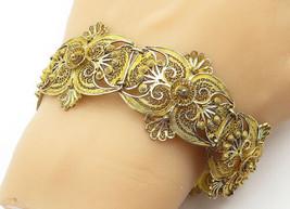925 Sterling Silver - Vintage Gold Plated Floral Filigree Chain Bracelet... - $72.06