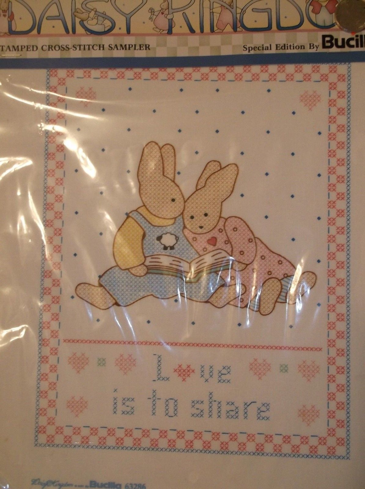 Bucilla Stamped Cross Stitch Sampler~Love Is To Share~Vintage~NOS~Ships FREE - $4.74