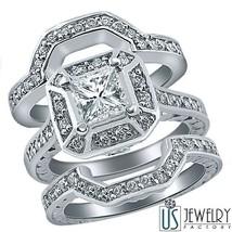 2.07 Carat (1.12) Princess Diamond Bridal Engagement Wedding Ring Set 14... - £4,757.58 GBP