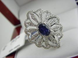 18K WHITE GOLD 0.68 TCW DIAMOND &1.CT NATURAL BLUE SAPPHIRE STATEMENT RI... - $2,162.44