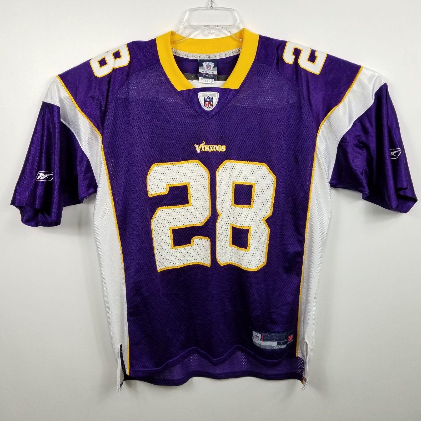 ac670c123 57. 57. Previous. Reebok Mens VTG Adrian Peterson Minnesota Vikings Jersey  Sz L Large Purple 28